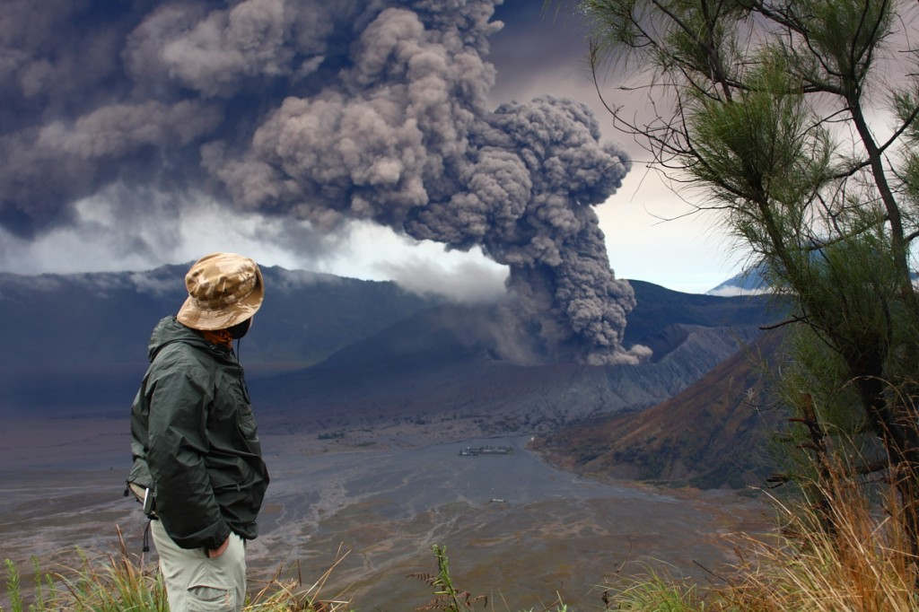 Mt Bromo erupts